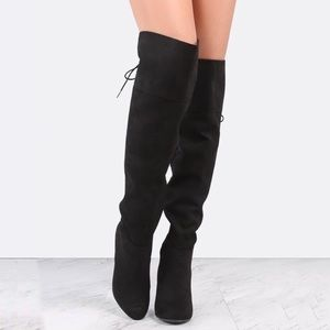 New Women Black Dominant-10S Lace Up Heel Boots